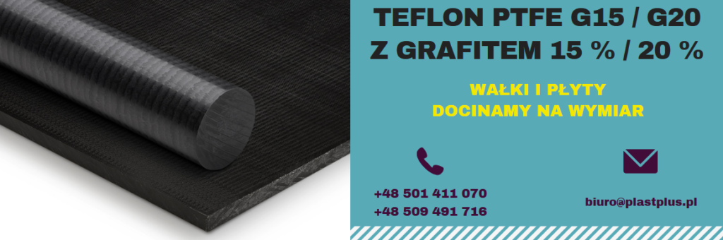 teflon z grafitem, ptfe grafit, PTFE G15, PTFE G20 wałki płyty